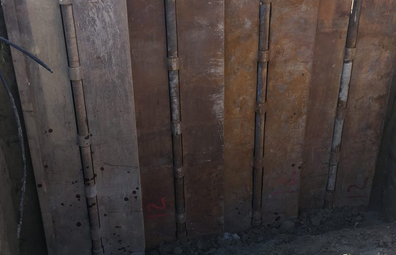 This shoring wall was installed on the property line of a residential lot in Calgary, Alberta, during a home rebuild.