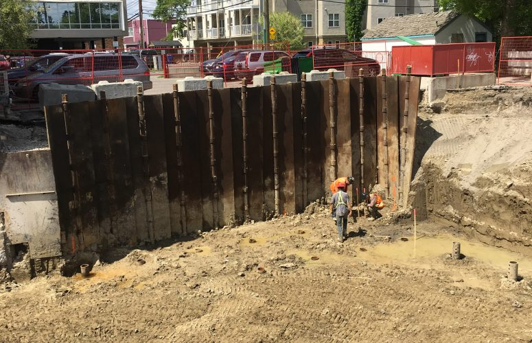 16' Shoring Wall installed in Calgary, Alberta.