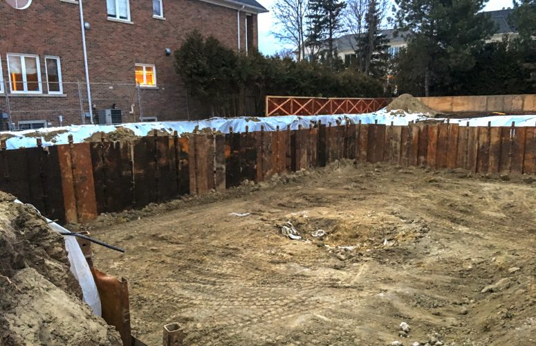Shortek installed our 16' tall shoring posts at a residential lot to aid in excavation.