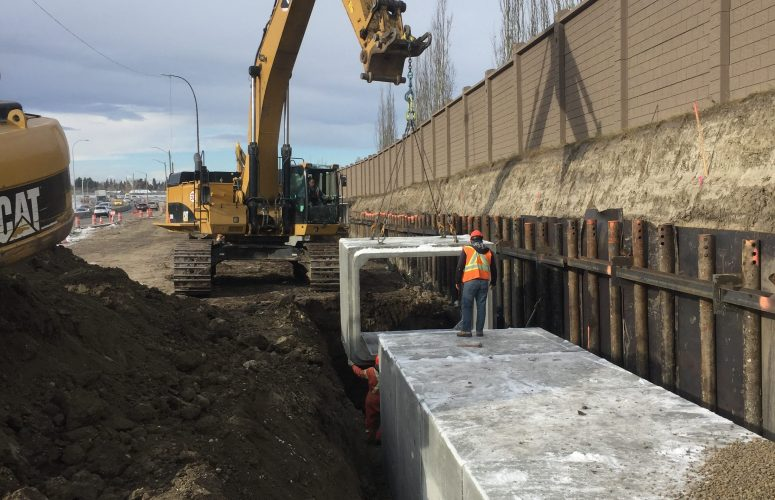 Our engineered shoring solution was used in Calgary, Alberta, so that a storm drain could be safely installed.